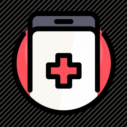call, cross, health, medical, medicine, phone, smartphone icon