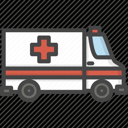 amublance, filled, medical, medicine, outline, service icon