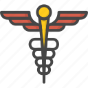 caduceus, filled, medical, medicine, outline, service icon