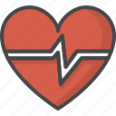 beat, filled, heart, medical, medicine, outline, service icon