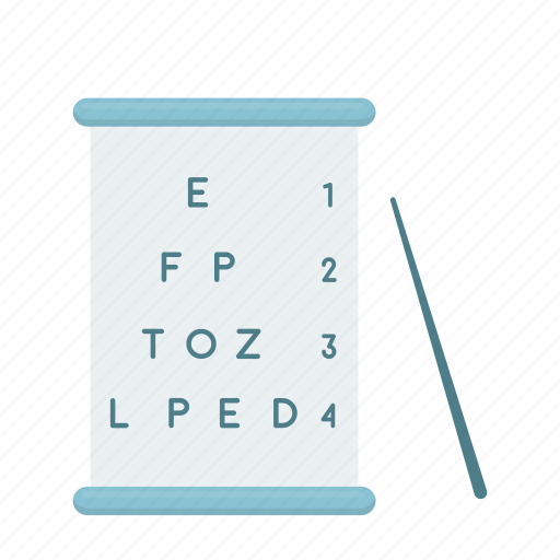 check, diopter, letter, pointer, sight, table, text icon