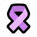 awareness, cancer, carcinoma, disease, involving, purple, ribbon icon