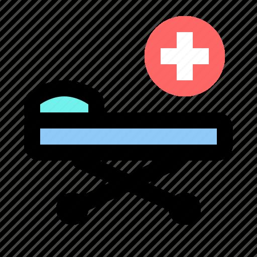 bed, emergency, equipment, hospital, trolley, wheel icon