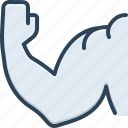 arm, biceps, bodybuilder, gym, muscle, strong, trapezius icon
