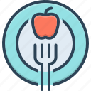 apple, diet, dietician, fork, healthcare, healthy, nutritionist icon