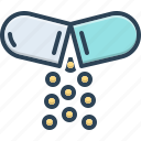 antibiotic, capsule, grug, open pill, painkiller, powder, tablet