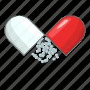 capsule, medicine, open, pill icon