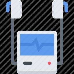 clinic, defibrillator, doctor, hospital, treatment icon