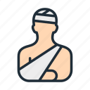 arm, bandage, broken, hand, head, injury, treatment icon