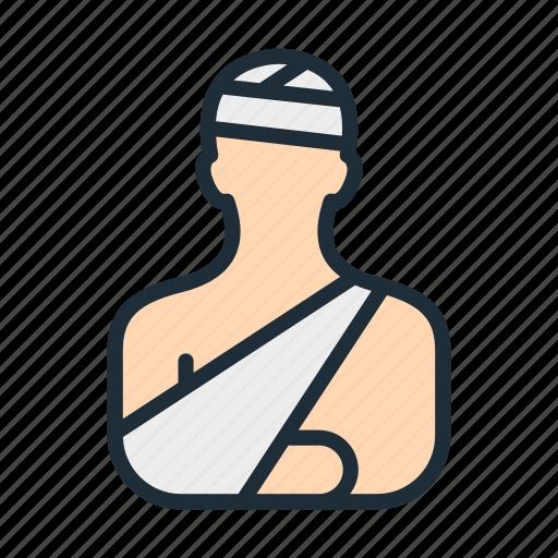 arm, bandage, broken, hand, head, injury, treatment icon