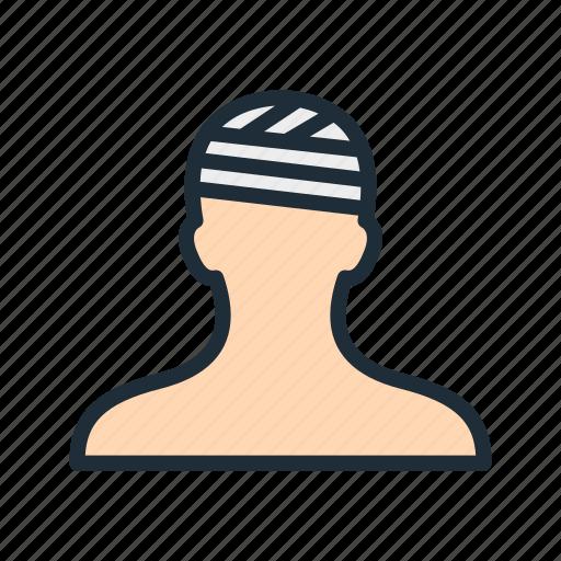 accident, bandage, broken, head, hospital, injury, treatment icon
