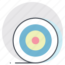 achieve, aim, bulls eye, dart board, goal, success, target icon
