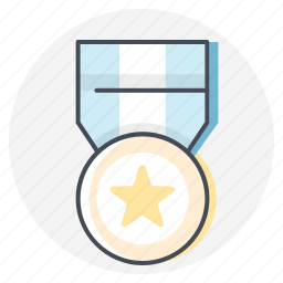 award, badge, gold, marathon, medal, star, winner icon