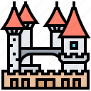 castle, kingdom, medieval, palace, towers icon