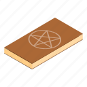book, isometric, magic, mystery, occult, pentagram, wizard icon
