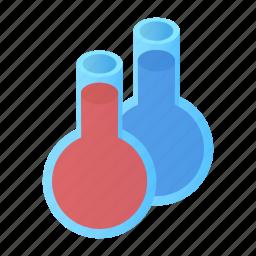 flasks, glass, isometric, liquid, magic, substance, tube icon