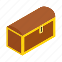isometric, old, wealth, wooden, chest, closed, rivet