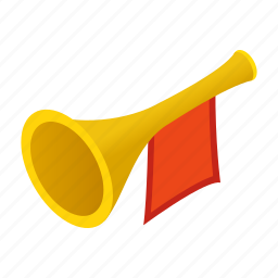 bugle, flag, golden, instrument, isometric, medieval, trumpet icon