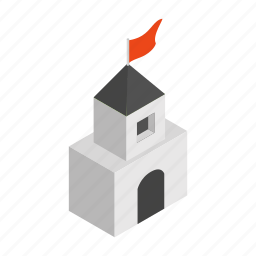 building, castle, isometric, medieval, old, stone, tower icon