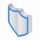 guard, isometric, protection, safe, secure, shield, silver icon
