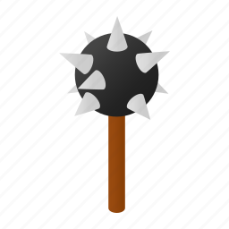 history, iron, isometric, knight, mace, medieval, steel icon