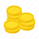coins, finance, gold, isometric, stack, treasure, wealth