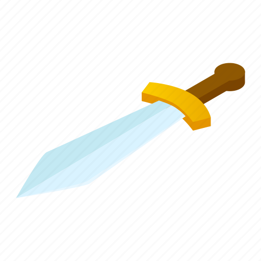 ancient, blade, gold, isometric, metal, steel, sword icon