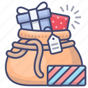 christmas, bag, gift, santa icon