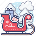 christmas, sled, sleigh icon