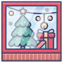 christmas, shopping, store, window icon