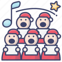 chorus, christmas, sing, song icon