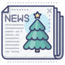 christmas, news, newspaper icon