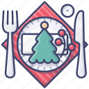 christmas, decoration, dinner icon