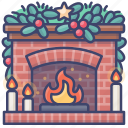 christmas, brick, fireplace, xmas icon