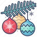christmas, balls, decoration, new year icon