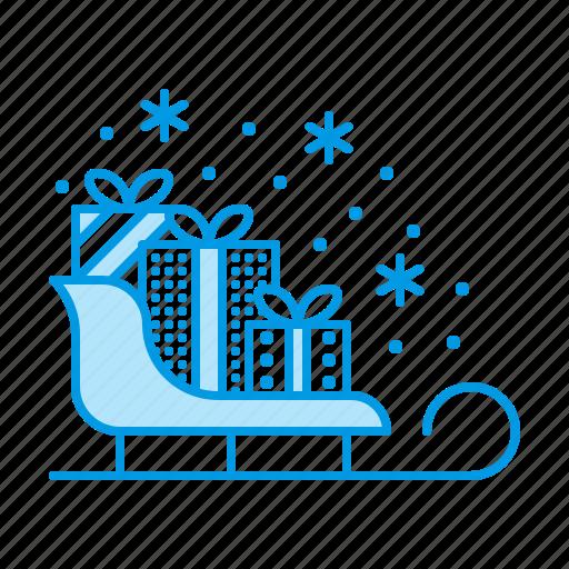 box, christmas, gifts, presents, sleigh icon