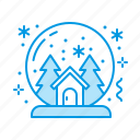 christmas, glass, globe, snow icon