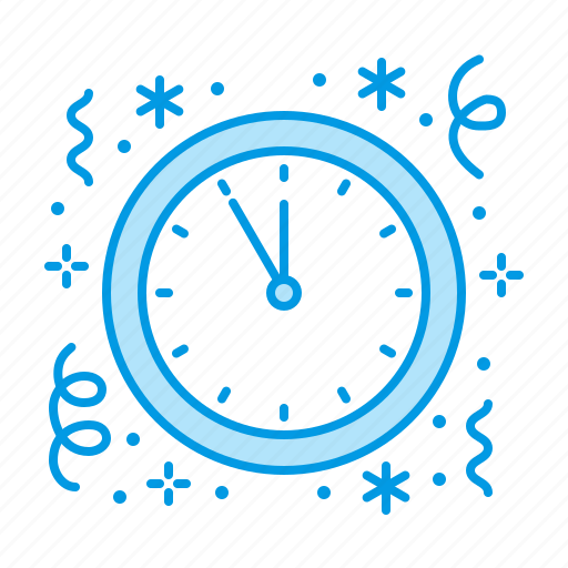 clock, midnight, new, year icon