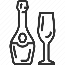 bottle, champagne, christmas, holidays, new year icon