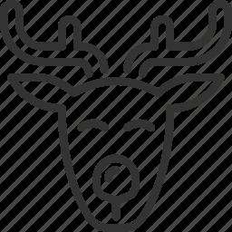 christmas, deer, head, holidays, rudolf, santa icon