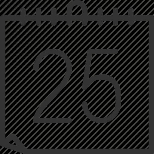 calendar, chrismas, holidays, the 25th icon