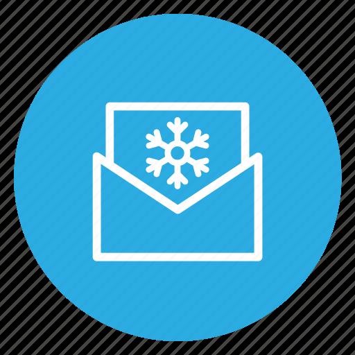 email, envelope, mail, open, postal, snow icon