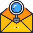 email, lettering.communication, mail, message, search icon