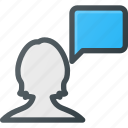 bubble, chat, female, message, user icon