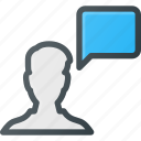 bubble, chat, male, message, user icon