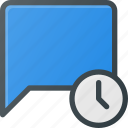bubble, chat, clock, message, time icon