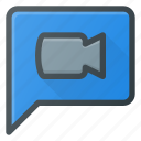 bubble, chat, message, video icon