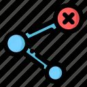 cross, delete, link, remove, social