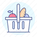 basket, food, groceries, grocery, products, shopping basket icon