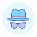 hat, incognito, privacy, secret agent, spy, spying, sunglasses icon